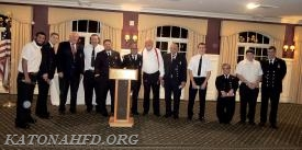 The chiefs present gifts to KFD's top 10 responders--October 2015-October 2016: From left, Lt. Roberto Juarez, Lt. Alex Whalen, Ex-Chief Hank Bergson, FF Harry Rosenblum, FF Chris Stanton, FF Robert DeAlto, FF Jeff Waful, FF Peter J. Smith. Photo by Gabe Palacio.