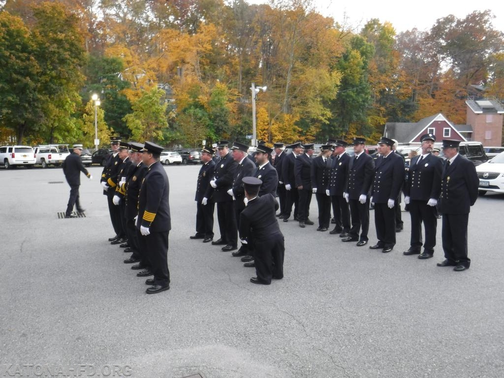 KFD Members lining up in preparation to be inspected.