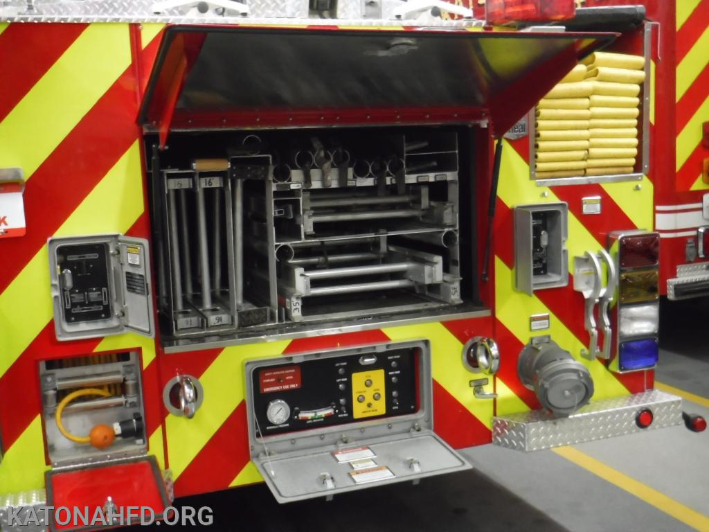 Ladder 39 carries a huge variety of ground ladders, ranging in height from 16 feet to 35 feet.