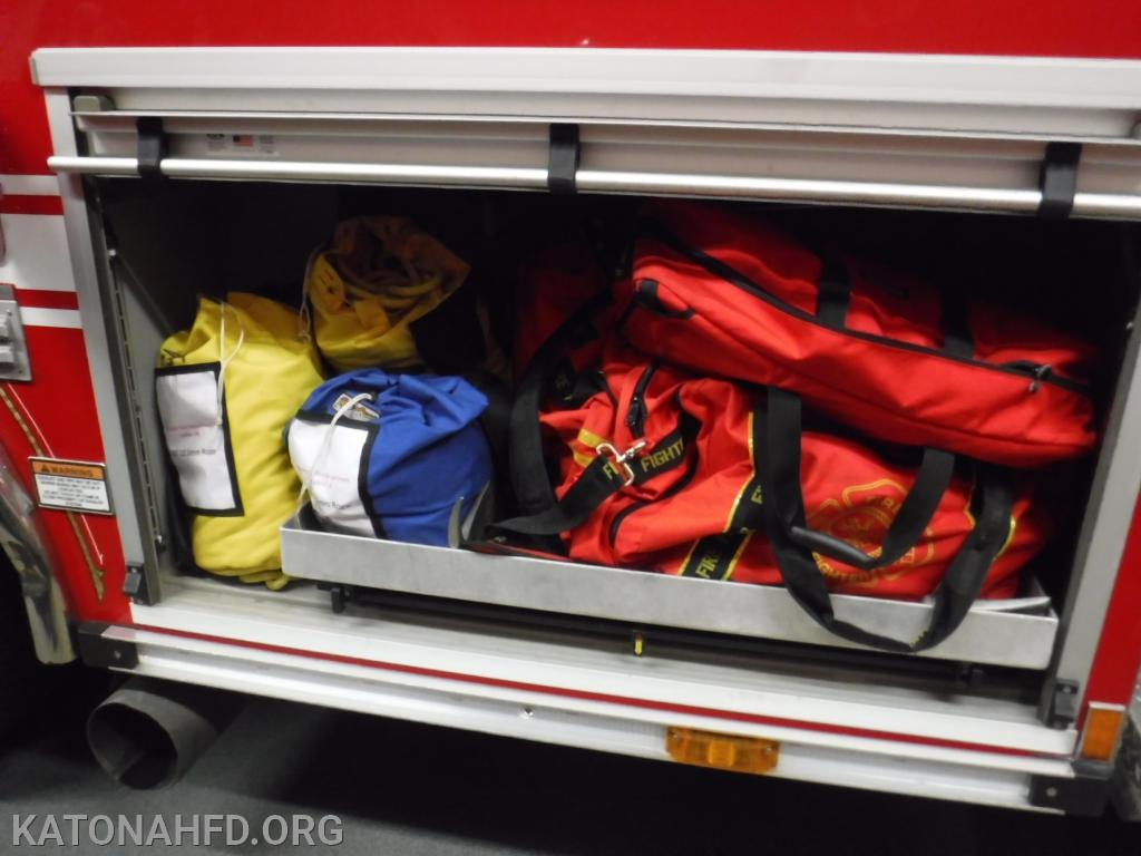 Ladder 39 carries a variety of rope and rigging systems