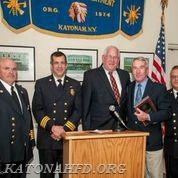 Michael J. Vuotto Award Recipient Bob Hickey (second from right) with (from left) Chief Paul Bauer, First Assistant Chief Dean Pappas, Board of Fire Commissioners Chairman Hank Bergson, and Second Assistant Chief Jose Corsino.